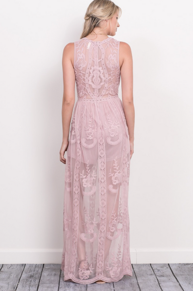 Preorder - Amore Sleeveless Lace Maxi Romper - Peony