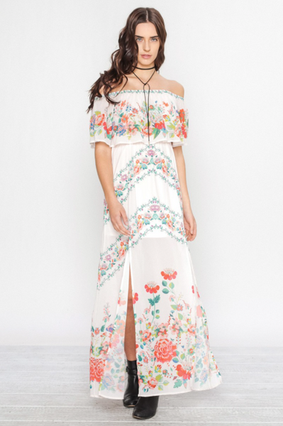 Flower Child Ivory And Floral Off Shoulder Maxi Dress