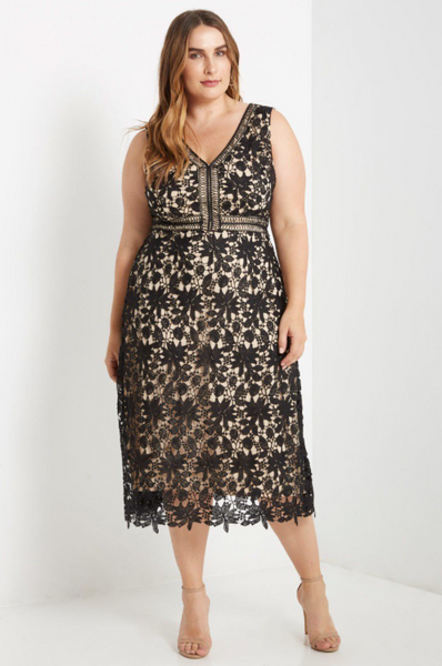 Plus Size - Victoria Sleeveless Lace Midi Dress - Black