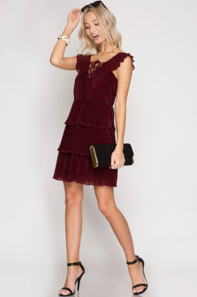 Mara Pleated Tiered Dress With Lace-Up Detail - Burgundy