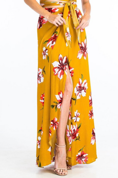 Hibiscus Two Piece Maxi Set - Mustard Yellow