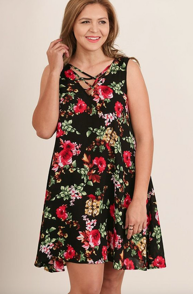Plus Size - Rosa Sleeveless Floral Dress With Crisscross Detail - Black