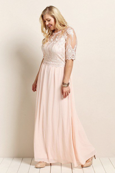 Plus Size - Adele Blush Pink Dress With Lace Top And Flowy Skirt