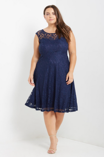 Plus Size - Miranda Lace Fit And Flare Dress - Navy