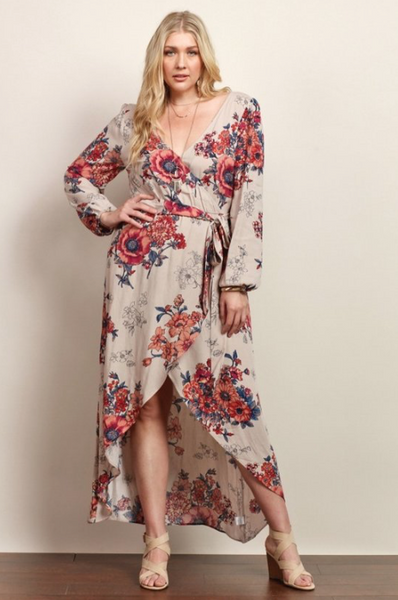 Plus Size - Maddie Long Sleeve Floral Maxi Dress - Sand