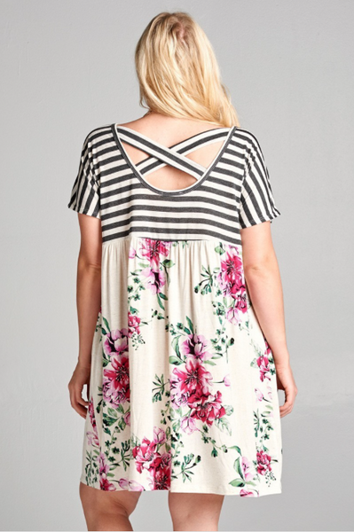 Plus Size - Zoey Babydoll Dress With Stripe and Floral Print
