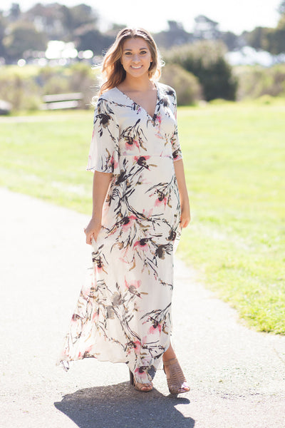 Pink Poppy Floral Wrap Maxi Dress