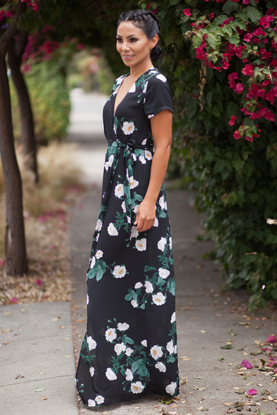 Black Savannah Floral Maxi Dress
