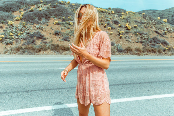 Brigitte Lace Romper - Rose Blush