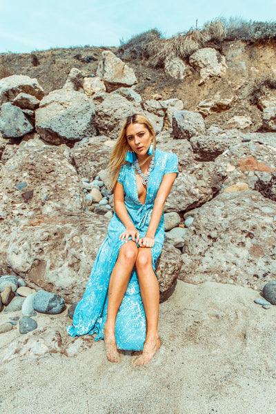Sale - Blue Crush Plunge Maxi Dress
