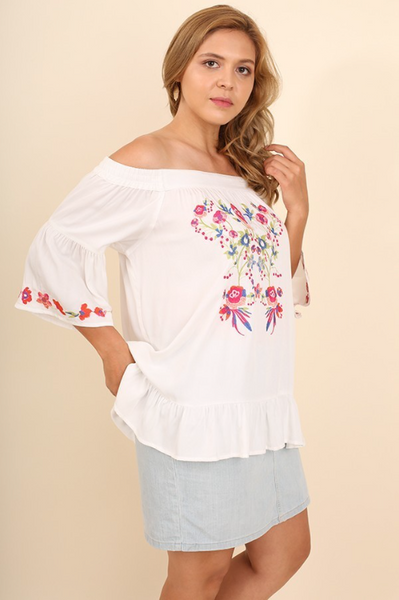 Plus Size - Poppy Off The Shoulder Embroidered Top - White