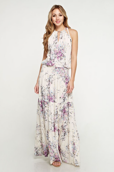Flash Sale - Ashley Floral Maxi Dress - Ivory / Violet And Periwinkle Print