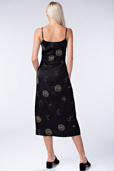 Celestial Babe Satin Slip Dress - Black
