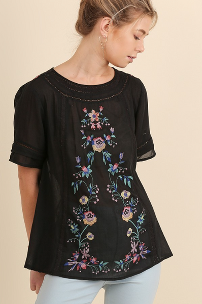Vintage Love Embroidered Top - Black