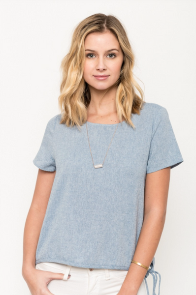 Lana Blue Cotton Side Tie Top by Everly
