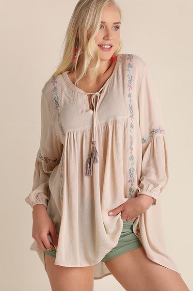 Plus Size - Summer Love Long Sleeve Boho Top