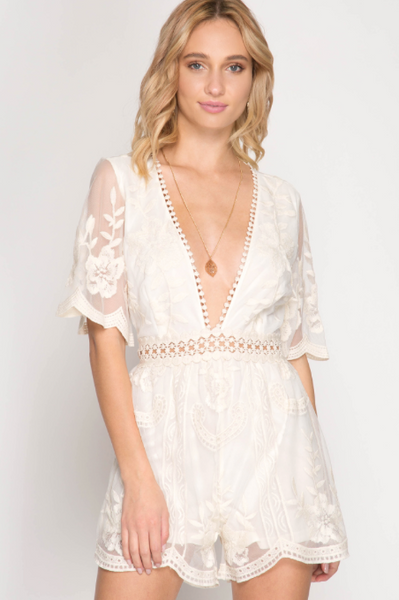 Butterfly Open Back Lace Romper - Off-White