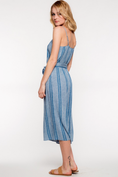 Quinn Blue Striped Cami Jumpsuit by Everly