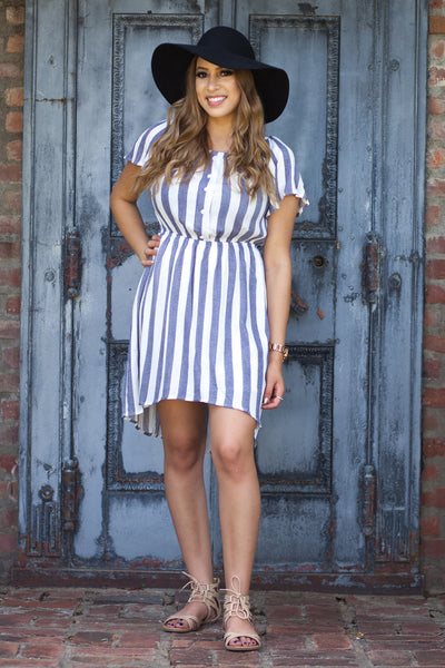Laguna Off Shoulder Blue And White Striped Dress by Everly