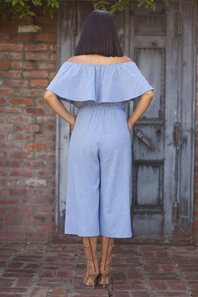 Georgia Blue Off Shoulder Jumpsuit by Everly