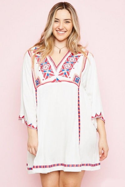 Plus Size - Hayden Embroidered Bell Sleeve Tunic Dress