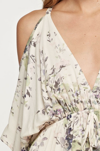 Aspen Floral Maxi Dress - Ivory / Sage And Lavender Print