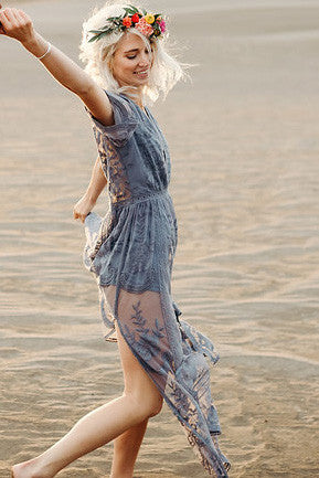 Bardot Lace Maxi Romper - Dusty Blue