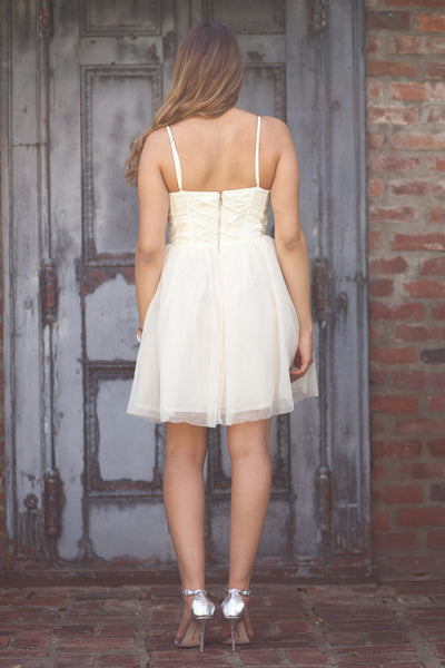 Sale - Carrie Ivory Dress With Lace Bodice And Tulle Skirt
