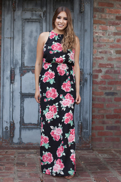 Sale - Rosalie Black Floral Print Maxi Dress by Everly