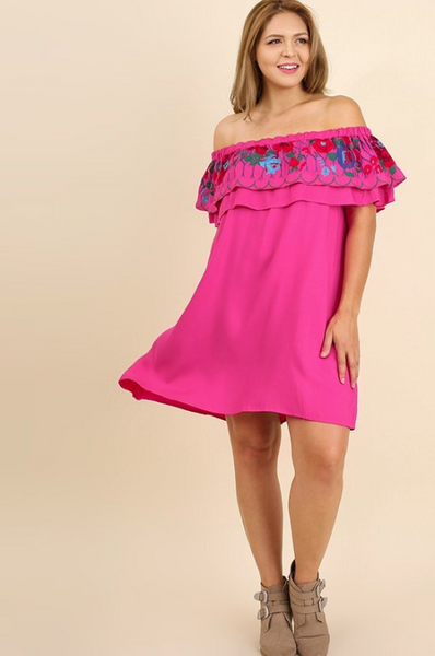 Plus Size - Mia Off Shoulder Dress With Embroidered Design - Pink