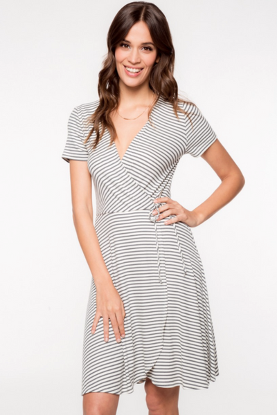 Flash Sale - Paz Gray And White Stripe Wrap Dress by Everly