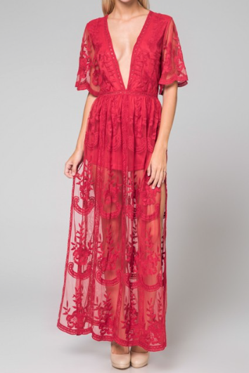 Bardot Lace Maxi Romper - Red