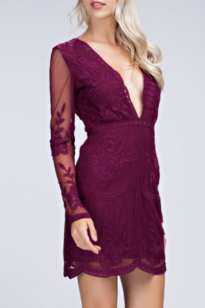 Milan Long Sleeve Lace Embroidered Dress - Burgundy Wine