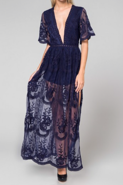 Preorder - Bardot Lace Maxi Romper - Navy Blue