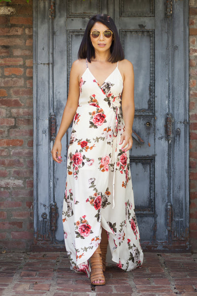 Jolie Ivory and Pink Floral Maxi Dress