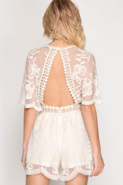 Preorder - Butterfly Open Back Lace Romper - Off-White