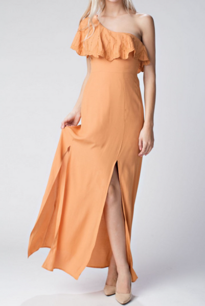 Sale - Miranda One Shoulder Ruffle Dress - Honey
