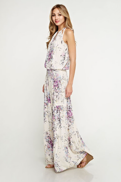 Ashley Floral Maxi Dress - Ivory / Violet And Periwinkle Print