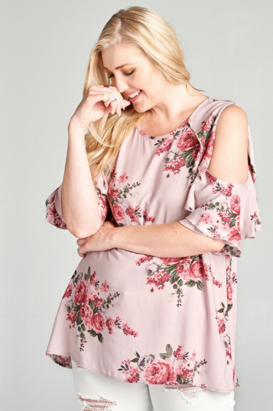 Plus Size - Bella Cold Shoulder Blush Floral Top
