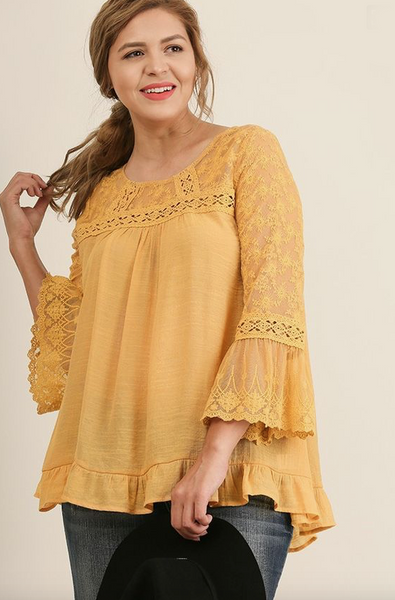 Plus Size - Sunshine Long Sleeve Boho Top - Mustard Yellow