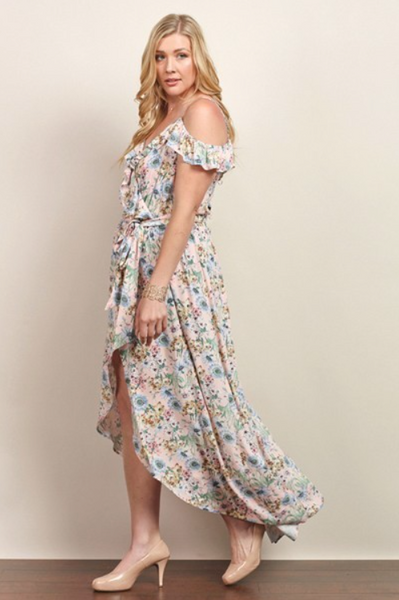 Plus Size - Emily Cold Shoulder Floral Maxi Dress With Tulip Skirt