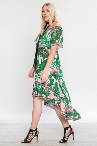 Plus Size - Palms For Days Off Shoulder High Low Maxi Dress