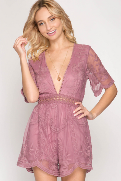 Butterfly Open Back Lace Romper - Dusty Rose