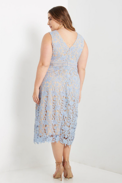Plus Size - Victoria Sleeveless Lace Midi Dress - Light Blue