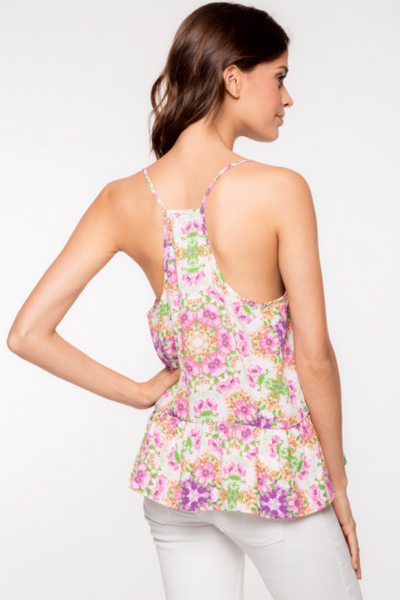 Flora Pink Flowers Cami Top by Everly