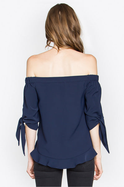 Sale - Juliet Off Shoulder Top - Navy Blue