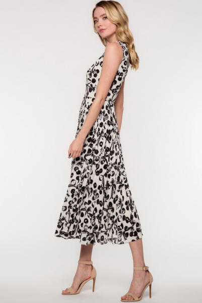 Flash Sale - Beverly Black and Ivory Floral Midi Dress by Everly