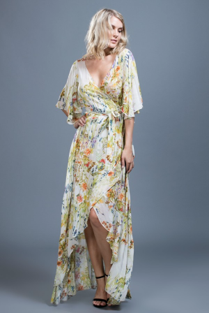 Camilla Yellow Floral Wing Sleeve Maxi Dress
