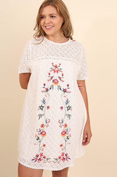 Vintage Love Embroidered Lace Tunic Dress - Off White