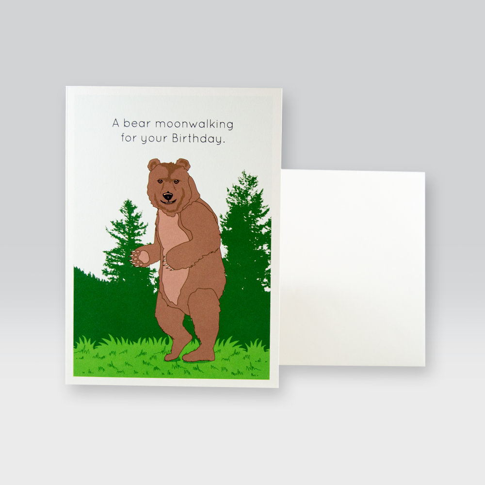 Moonwalking Bear Birthday Card by SeltzerGoods